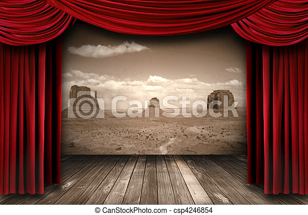 Red Theater Curtain Drapes With Desert Mountain Background - csp4246854
