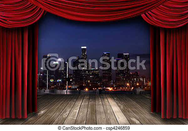 Theater Stage Curtain Drapes With a Night City as a Backdrop - csp4246859