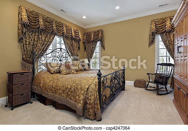 Master bedroom with gold walls - csp4247064