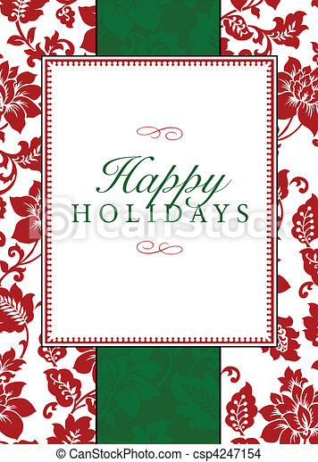 Vector Holiday Themed Frame and Pattern - csp4247154