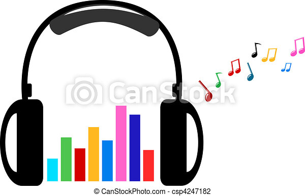 headphone and colorful volume - csp4247182