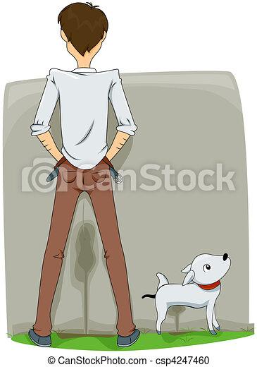 Stock Illustration of Peeing Outside - Man Peeing Outside ...