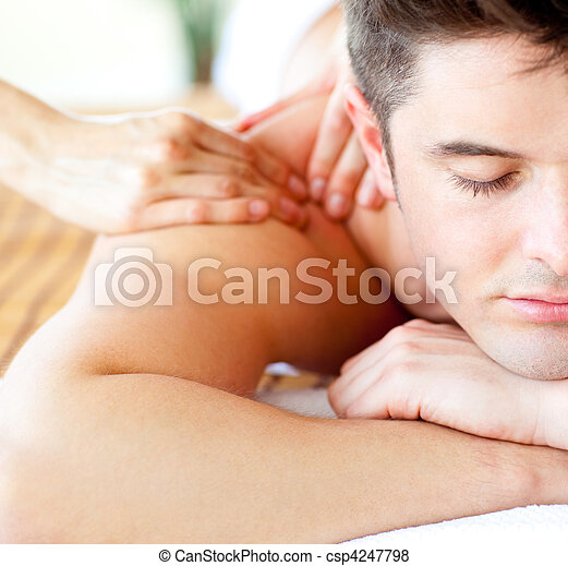 Close-up of an attractive man having a back massage - csp4247798