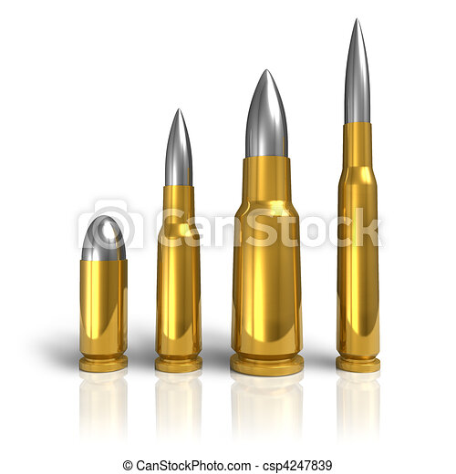 Sniper Bullet Drawing Set of Different Bullets