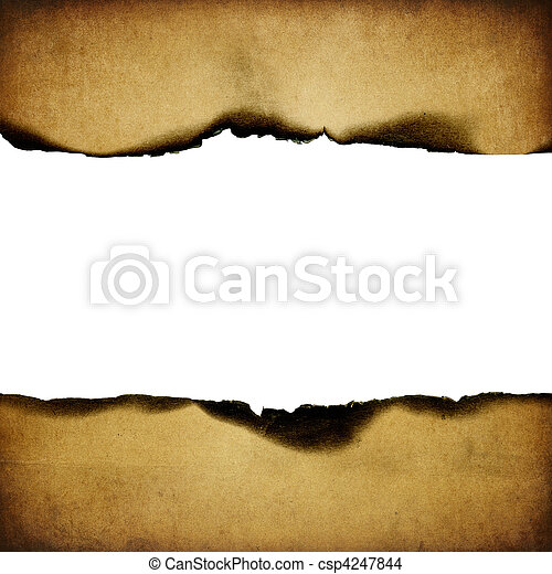 Vintage burned paper background, centerline isolated  - csp4247844