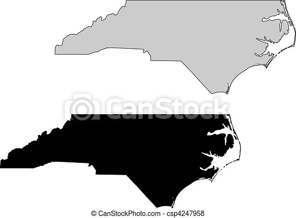 North Carolina map. Black and white. Mercator projection. - csp4247958