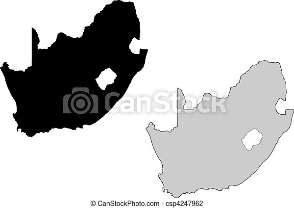 Vector Illustration of South Africa map. Black and white. Mercator ...