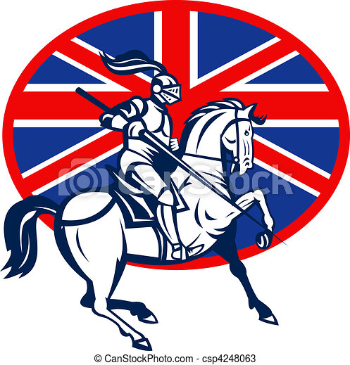 Knight on horse with lance and British or great Britain flag - csp4248063
