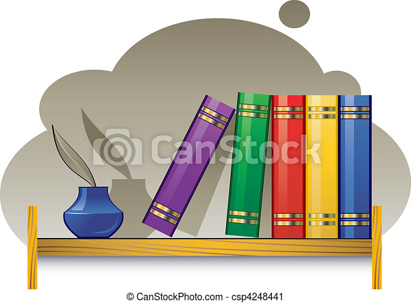 Bookshelf with books and inkwell - csp4248441