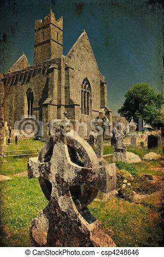 scenic irish ancient church abbey ruins landscape - csp4248646