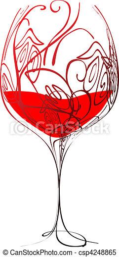 Vecteur clipart de stylis verre vin vin et floral - Verre de vin dessin ...