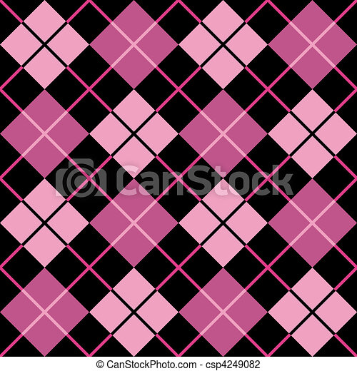 Argyle Pattern in Black and Pink - csp4249082