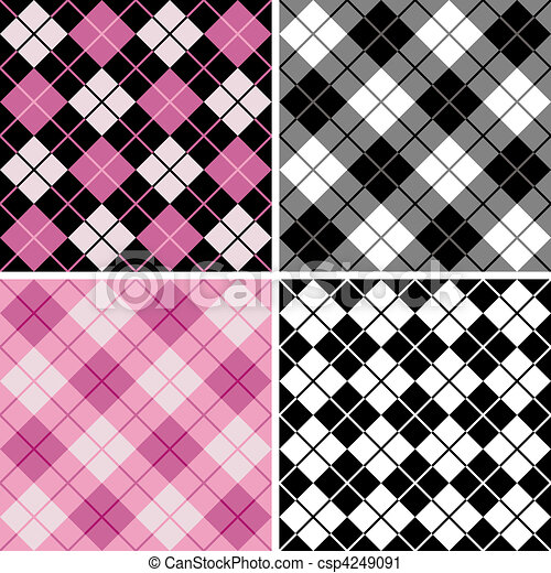Argyle-Plaid Pattern in Black-Pink - csp4249091