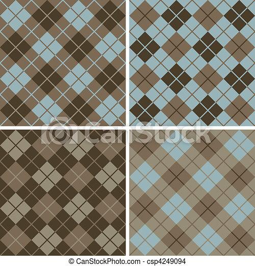 Argyle-Plaid Pattern_Blue-Brown - csp4249094