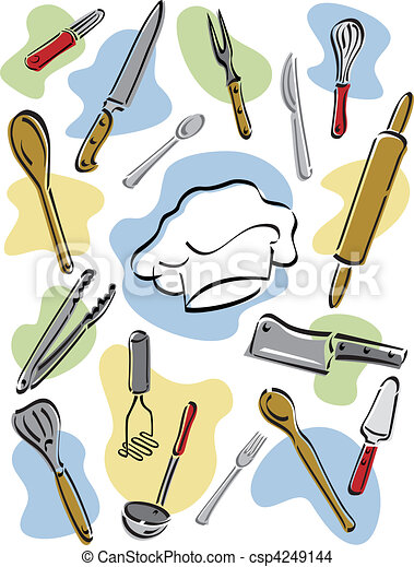 Kitchen Tools Drawings eps vector of chef's tools - vector illustration of kitchen