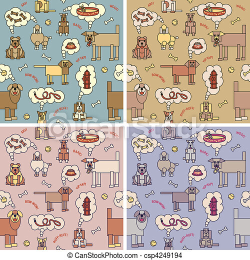 Dogs Thinking Pattern - csp4249194