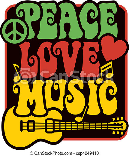Peace Love Music_Rasta Colors - csp4249410