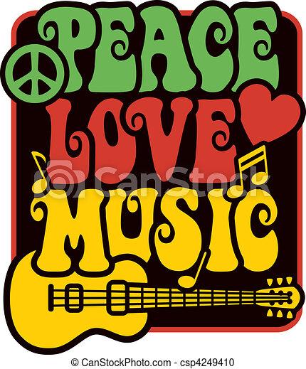Peace Love Music_Rasta Colors - csp4249410