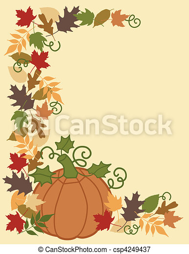 Pumpkin and Leaves Border - csp4249437