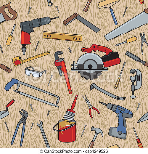 Tools on Wood Pattern - csp4249526