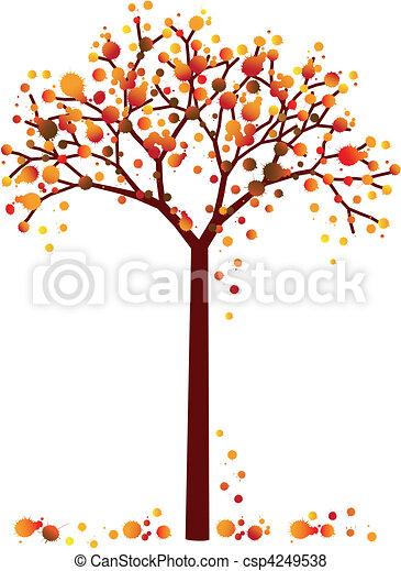 grungy autumn tree - csp4249538