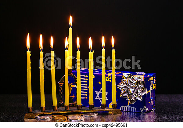 A still life composed of elements of the Jewish Chanukah Hanukkah festival. jewish holiday Hanukkah