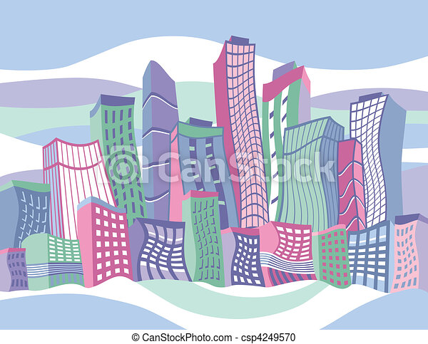 Wavy Cartoon City - csp4249570