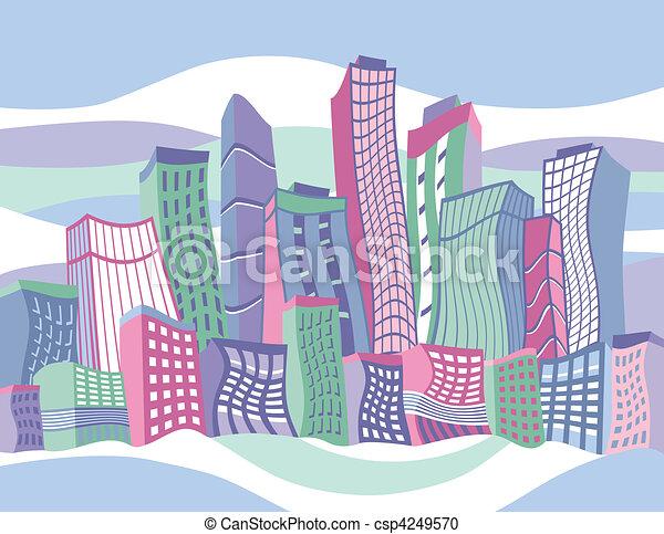 Wavy Cartoon City - csp4249570