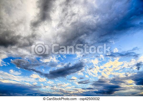 Beautiful dark blue sky after storm. High Dynamic Range photo