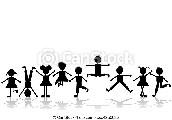 Group of happy children playing, set 2 - csp4250035