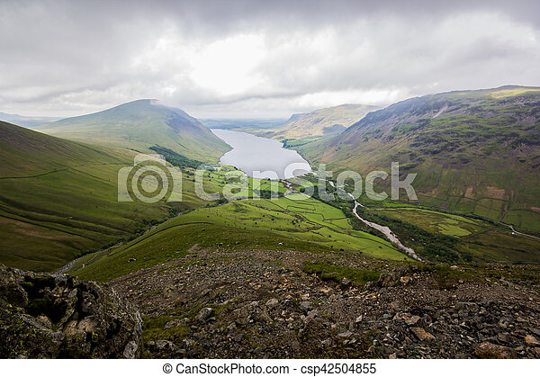 Wasdale valley with mountains around and a lake in the center