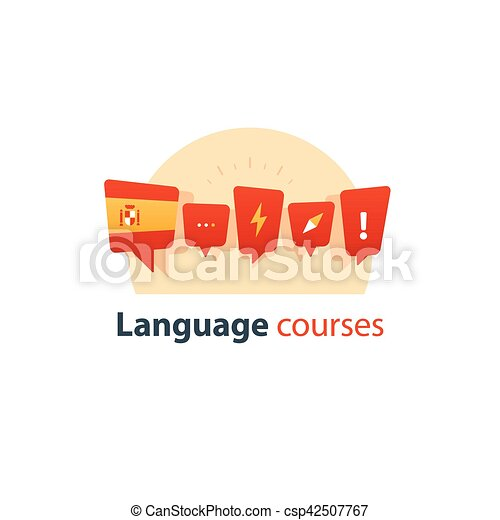 Clip Art Vector of Spanish language courses advertising concept ...