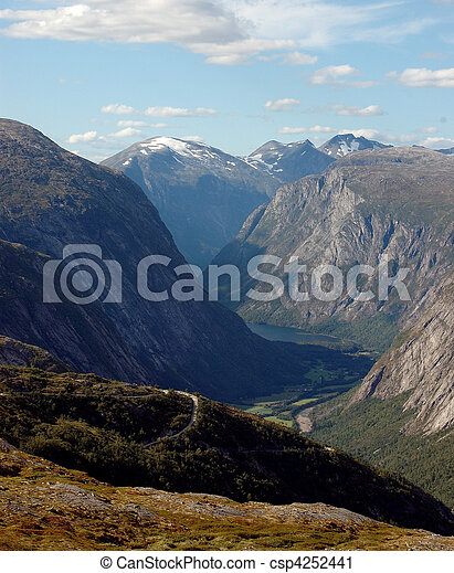 Steep mountain road in a Norwegian glacial valley; Finsetlia, Eikesdalen - csp4252441