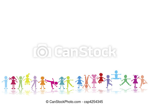 Group of happy children playing  - csp4254345