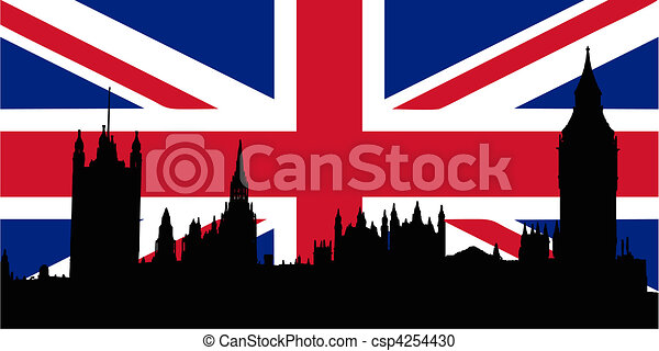 UK flag and Houses of the Parliamen - csp4254430