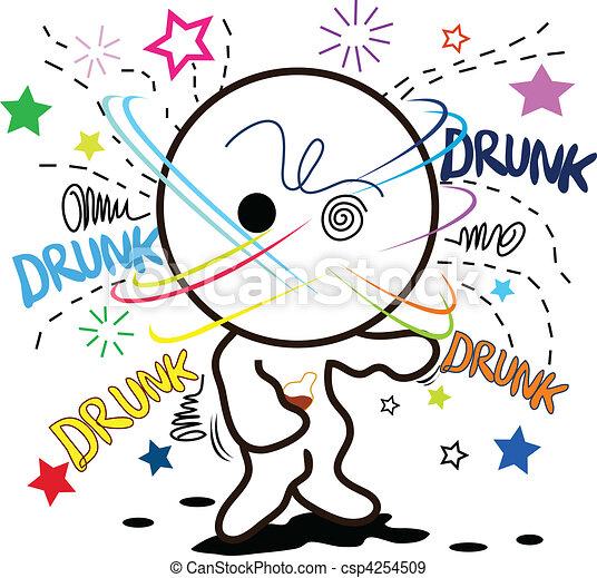 cartoon drunk - csp4254509