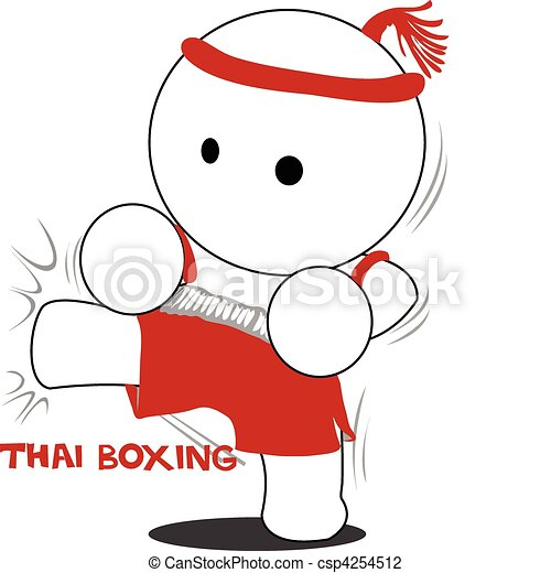cartoon Thai boxing and kick - csp4254512