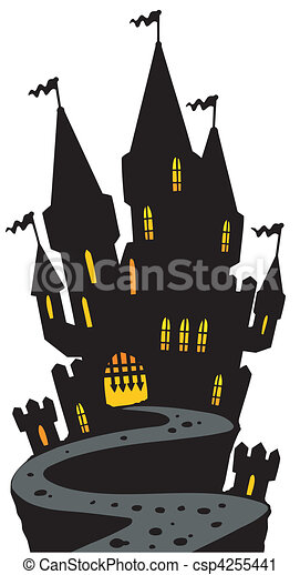 Castle on hill silhouette - csp4255441