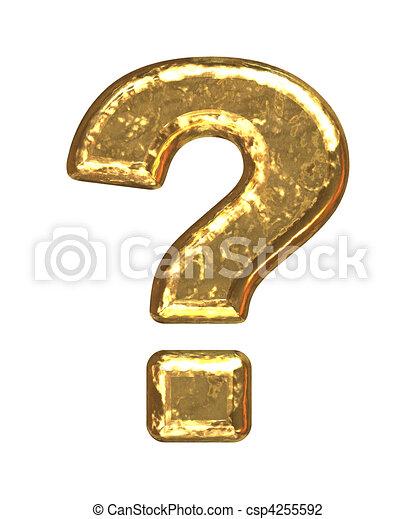 Golden font. Question mark - csp4255592