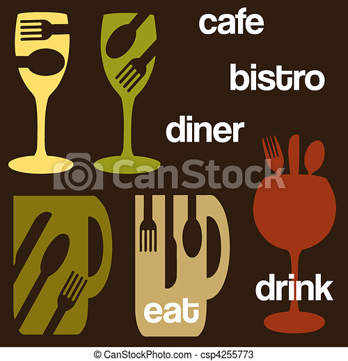 cafe food and drink concept graphics - csp4255773