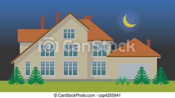 New family house in the night - csp4255941