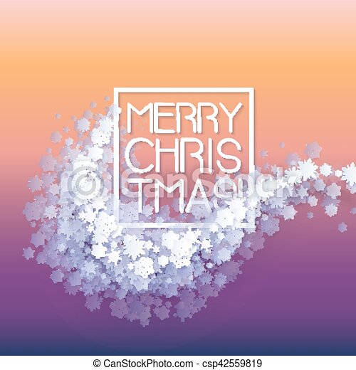 Snow frame with Merry Christmas text. - csp42559819