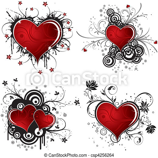 Valentines Day background with hearts and flower - csp4256264