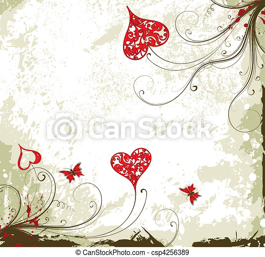 Valentines Day grunge background with hearts and florals - csp4256389