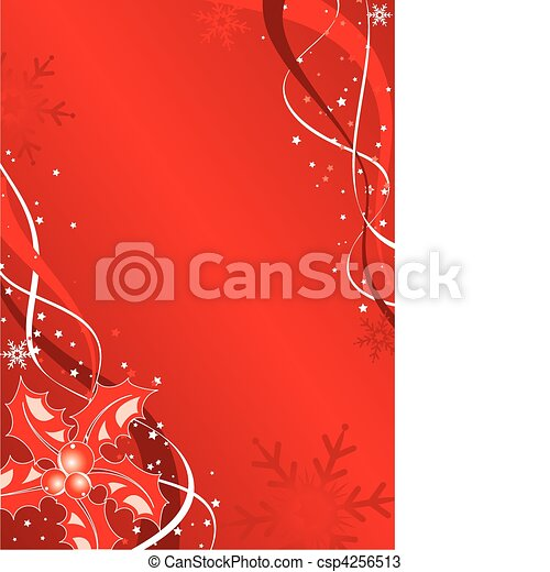 Christmas background with mistletoe and snowflakes, vector - csp4256513