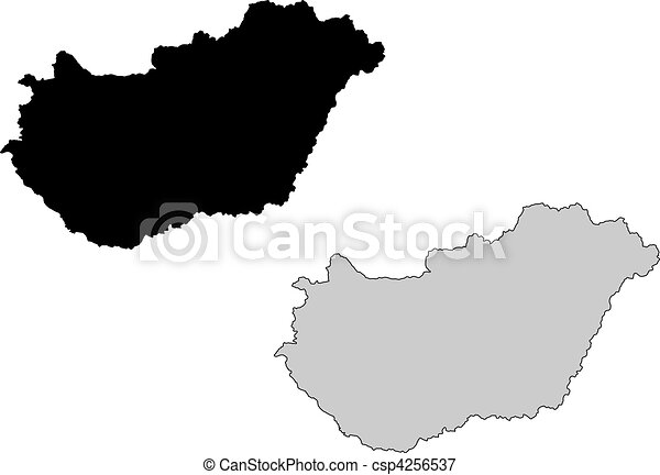 Hungary map. Black and white. Mercator projection. - csp4256537