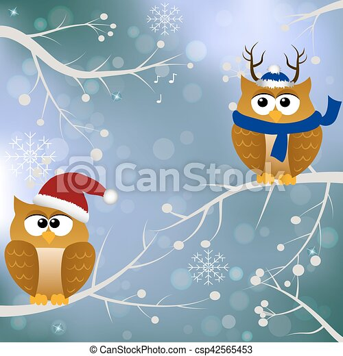 winter card with birds - csp42565453