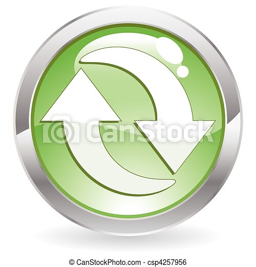 Gloss Button with Recycling Symbol - csp4257956