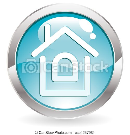 Gloss Button with Home - csp4257981