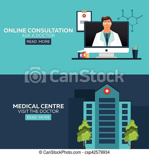 Online doctor. Online consultation. Ask doctor. Medical illustration. Medical centre. Visit the doctor. Hospital and health care. - csp42579934